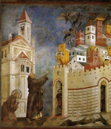 Malen lernen, Giottos Bildraum durch blaue Farbe im Mittelalter